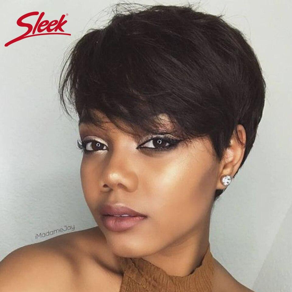 Sleek Brazilian Short Human Hair Wig 100% Remy Red Hair Wig For Black Women Brown Full Machine Cheap Wigs Pixie Cut Wig  Fast